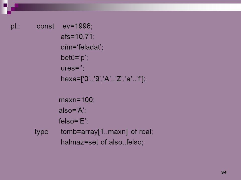 pl.: const ev=1996; afs=10,71; cím='feladat'; betű='p'; ures=''; hexa=['0'..'9','A'..'Z','a'..'f'];